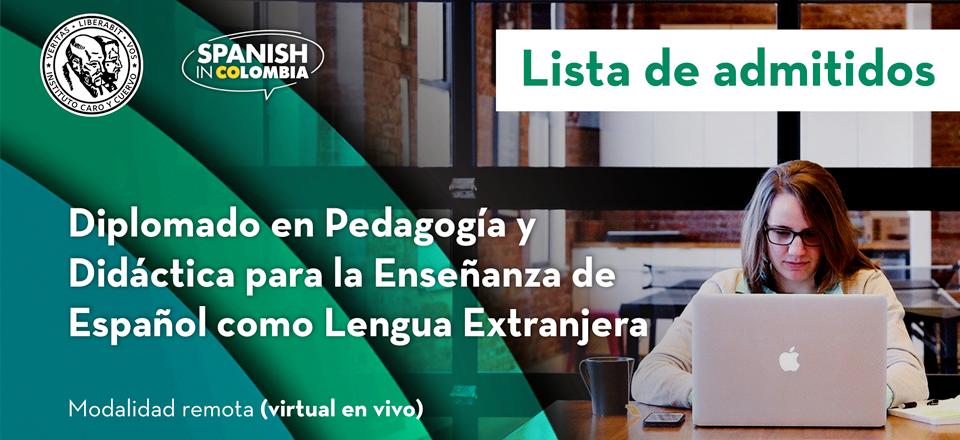 Lista de admitidos: Diplomado en Pedagogía y Didáctica para la Enseñanza de Español como Lengua Extranjera - Modalidad remota